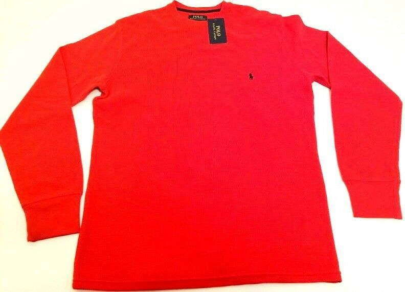 Polo Ralph Lauren Men's Loungewear Waffle Thermal Top Large L Red Authentic NWT