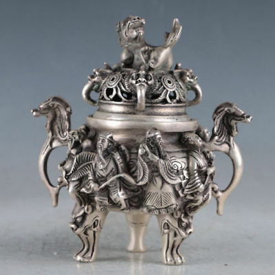 Tibet Silver Unicorn Incense Burner Made During Qianlong Period Bronze Statue