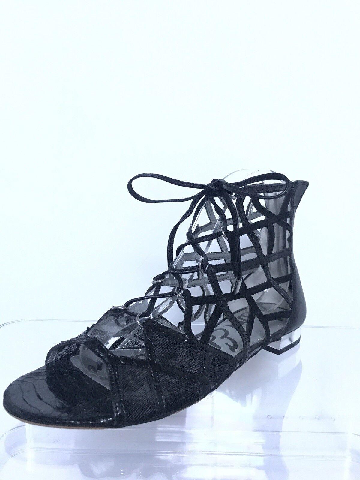 Sam Edelman Gladiator Black Strappy Leather Sandals back zipper womens 8