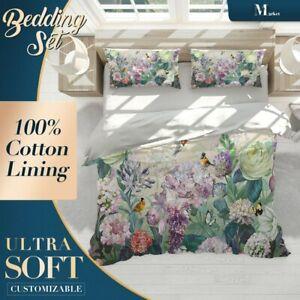 Flowers Birds Floral Bright Quilt Doona Cover Sets Fine Breathable Cotton