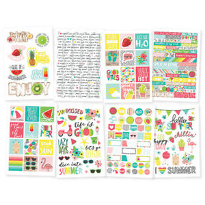 """Simple Stories Hello Summer Collection 4"""" x 6"""" cardstock stickers #10154"""