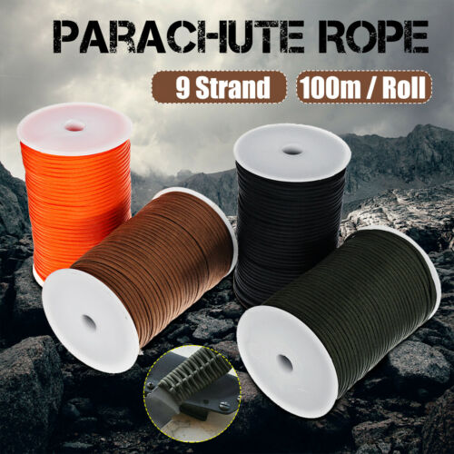 100m Outdoor Military Camping Hiking 550 Paracord Reel Parachute Rope