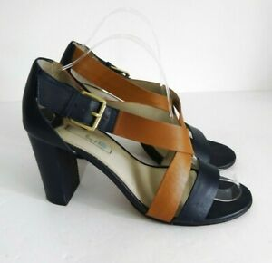 BODEN-Size-UK-8-Lovely-Navy-Tan-Leather-Sandals-3-75-034-Heels-Buckle-Fasten-VGC