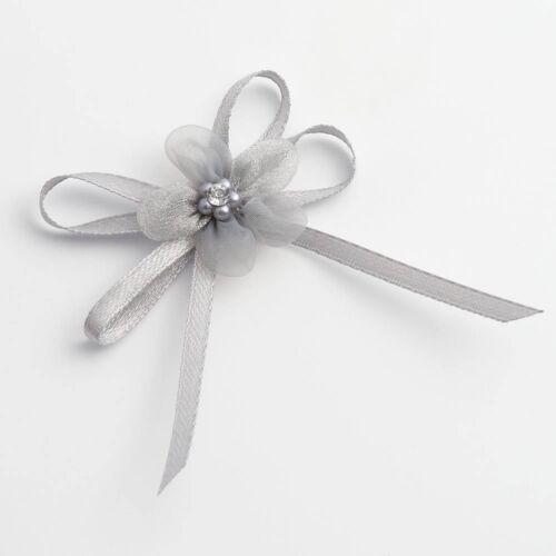 Self Adhesive Diamante Satin Organza Bows Wedding Favour Decoration Cardmaking