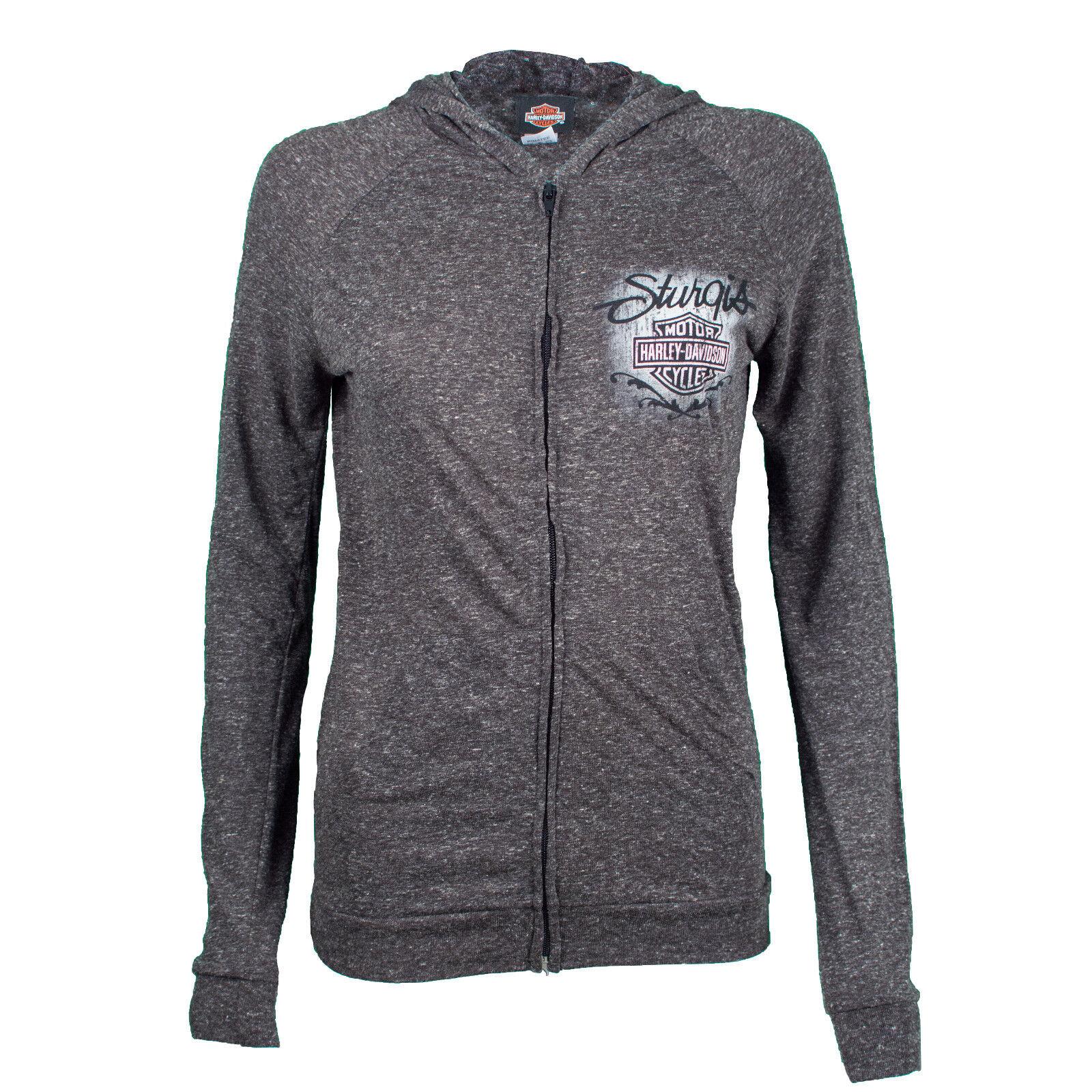 Sturgis Harley Davidson® Women's Sturgis Wash Lightweight Grey Zip Up Hoodie