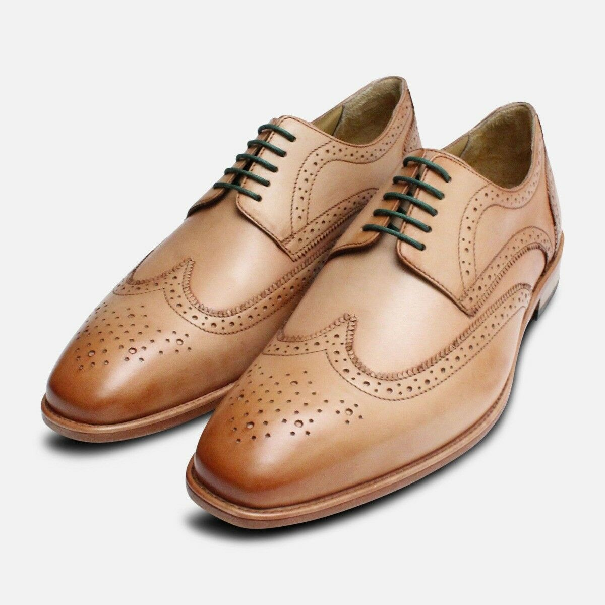 Wingtip Brogues in Beige by Arthur Knight shoes