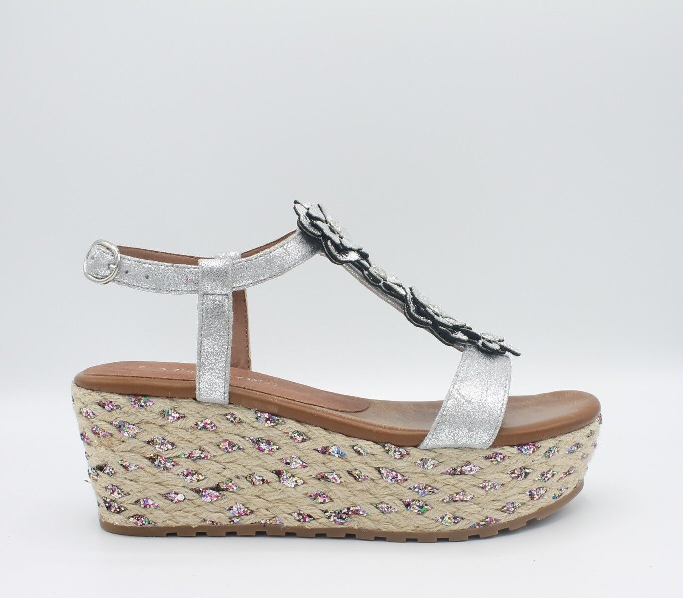 CAFè black HA925 Women's sandals wedges in rope decorated upper flowers silver