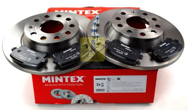 MINTEX REAR AXLE BRAKE SET DISCS, PADS FOR AUDI VW MDK0258 (REAL IMAGE OF PART)
