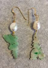 Antique Chinese Apple green Jade hat ornament Pearl 14 K GF Pierced Earrings