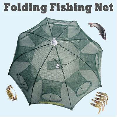 4-12 Holes Fishing Bait Trap Crab Net Crawdad Shrimp Cast Dip Cage Fish Minow US