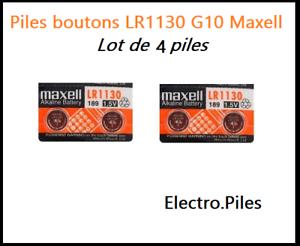 Lot-de-4-Piles-bouton-LR1130-G10-de-marque-MAXELL-livraison-rapide-et-gratuite
