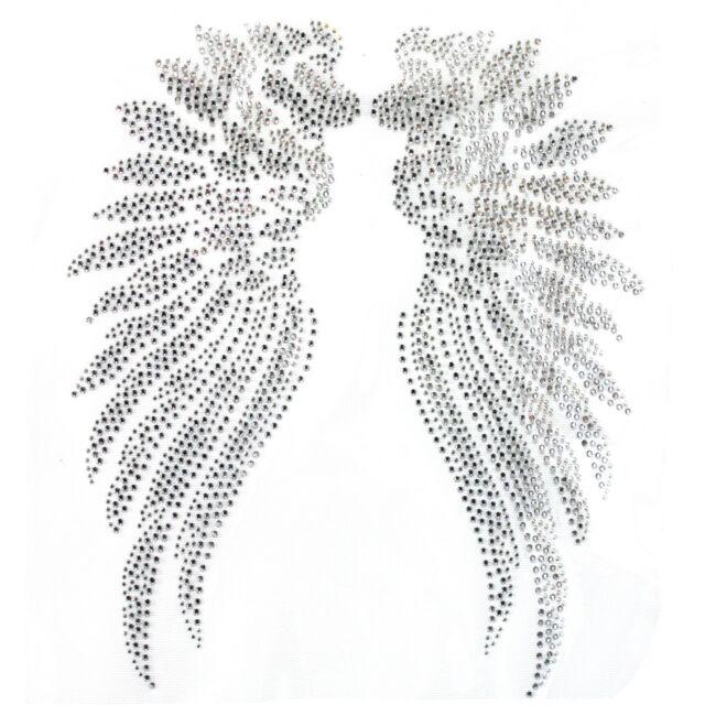 Rhinestone Iron On Transfer Hot fix Motif Angel Wings 2 deco Fashion Design
