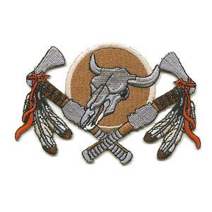 Indianer-Dreamcatcher-Schild-Bull-Skull-Traumfaenger-Patch-Aufnaeher-Aufbuegler-505