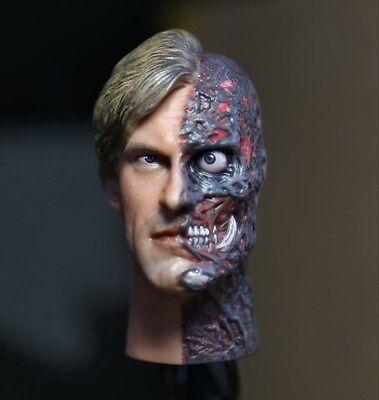 █ Custom Aaron Eckhart Burned 1/6 Head Sculpt Two Face for Hot Toys Body