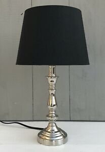 Edle-Lampe-Tischlampe-silber-schwarz-H-36-cm-Vintage-Stil-Light-amp-Living