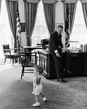 President John F. Kennedy watches JFK Jr. play in the Oval Office New 8x10 Photo