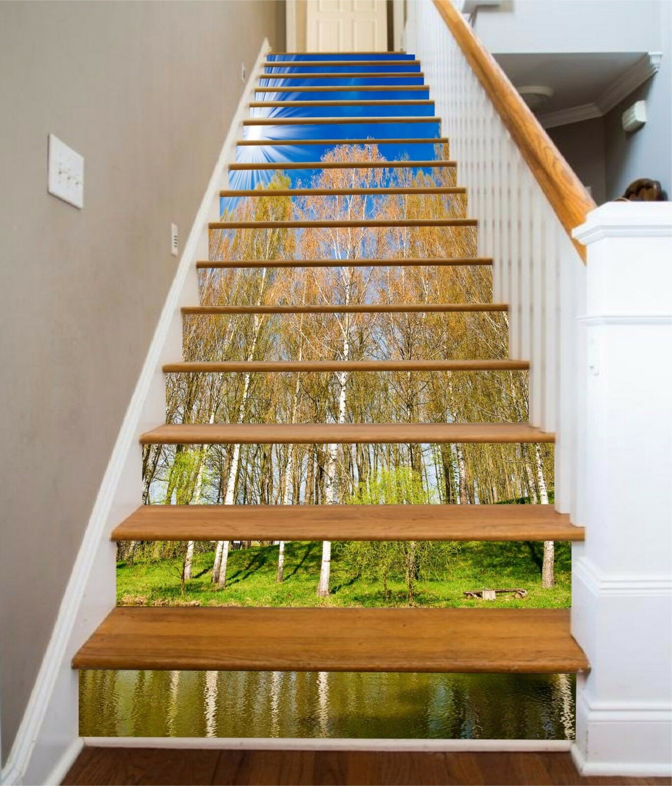 3D Sky forest Stair Risers Decoration Photo Mural Vinyl Decal Wallpaper AU