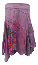 Fair Trade Gringo Purple Cotton Embroidered Boho Hippy Folk Pixie Skirt Large