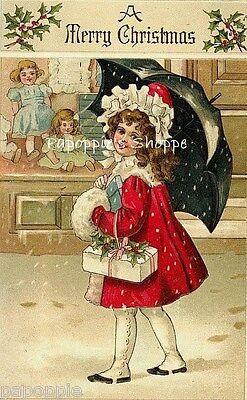 Christmas Fabric Block Vintage Victorian Girl Umbrella