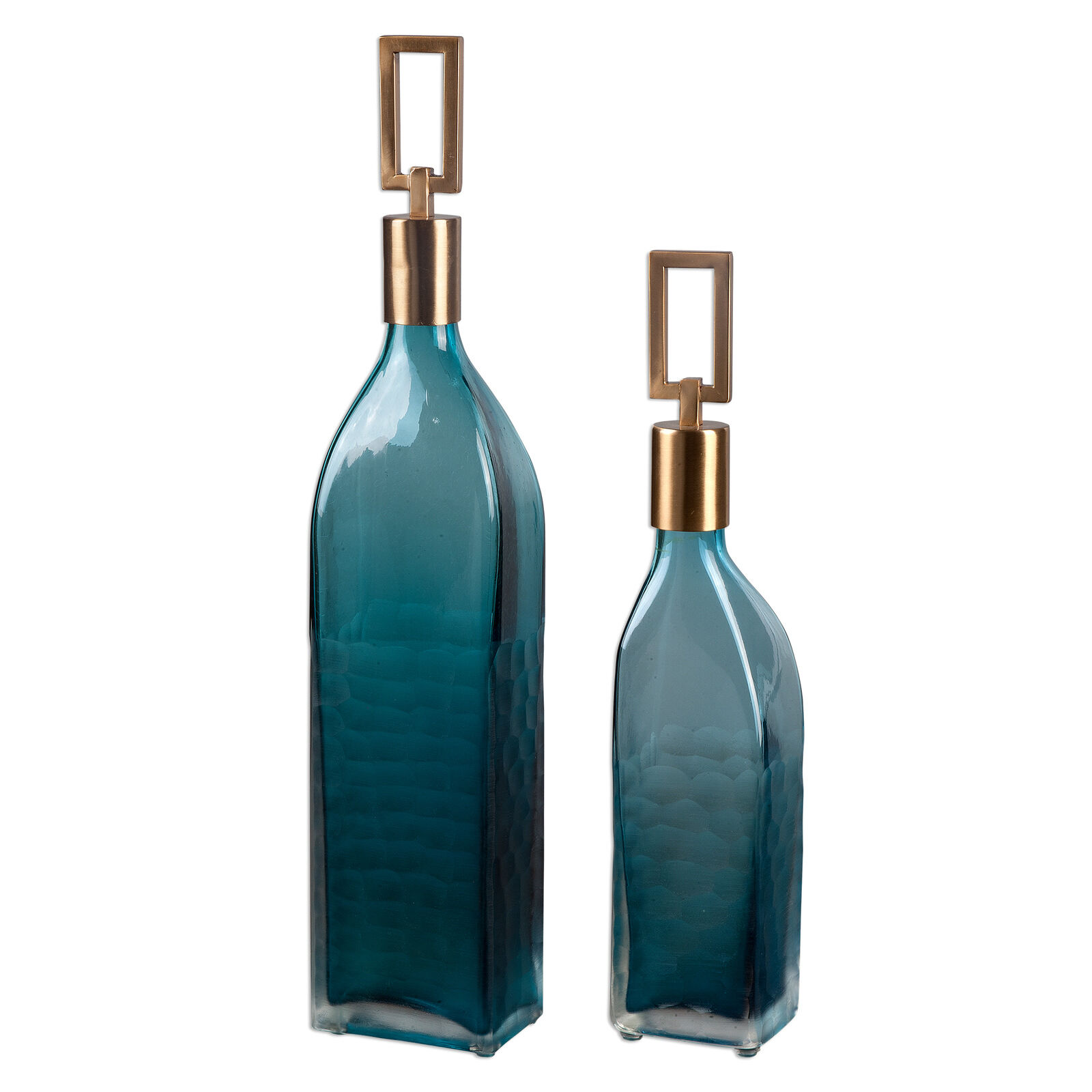 Mid centuryl Moderno verde Teal conjunto de Botella de Vidrio 2   Alto Bronce Decorativo Azul