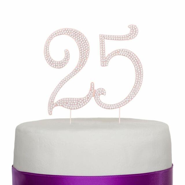 25 Rose Gold Cake Topper 25th Birthday Anniversary