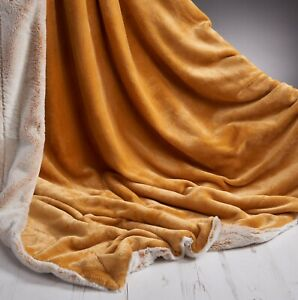 Rabbit-Faux-Fur-Sofa-Bed-Luxury-Throw-Over-Warm-Blanket-150-x-200-cm-Mustard
