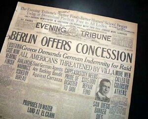 RMS LUSITANIA SINKING Case Settlement with Germany ? WWI Tensions 1916 Newspaper