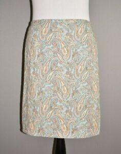 TALBOTS-79-Light-Blue-Paisley-Print-Knee-Length-Straight-Skirt-Size-22W