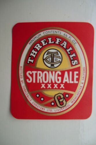 MINT THRELFALL/'S LIVERPOOL /& SALFORD STRONG ALE BREWERY BEER BOTTLE LABEL
