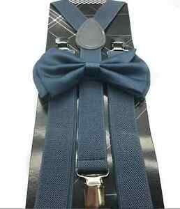 b09fe138fea7 Grey Gray Bow Tie & Matching Suspenders Set Wedding Prom Teens Adult ...