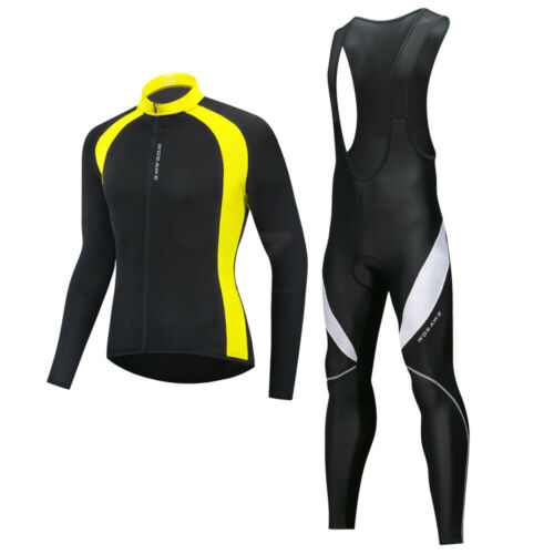 Mens Cycling Jersey /& Braces Pants Set Cycling Kit Padded Long Pants