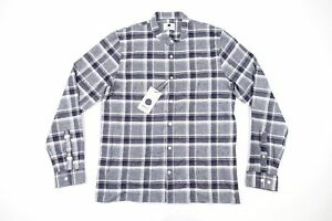 57292a102ae414 Details about NO NATIONALITY NN07 GUTAV L PLAID SLIM BAND COLLAR FLANNEL BUTTON  FRONT SHIRT