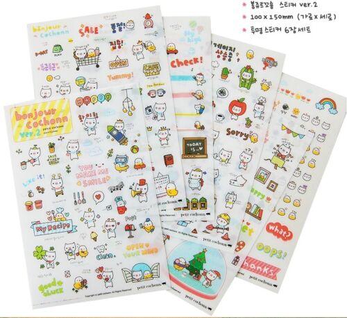 2 Sheet Kawaii Cartoon Paper Sticker Album Scrapbooking Diary Decor-Stickers