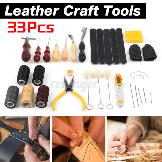 33PCS Leather Craft Tools Hand Sewing Stitching Carving Work Set Kit Punch DIY