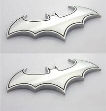2pcs Car Sticker Chrome Batman Bat Dark Knight Logo Metal 3D Emblem Badge Decals