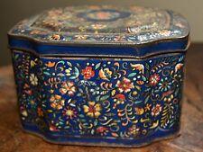 Lovely Vintage Floral Metal Tin - hinged TRINKET BOX - with random beads etc