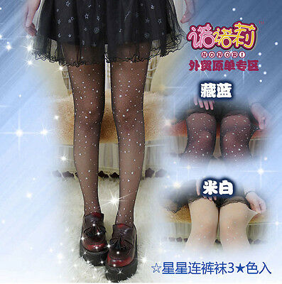 Sexy Kawaii Women Shining Stars Galaxy Lolita Silk Tights Pantyhose Cosplay