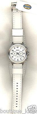 NWT Fossil BQ1035 Retro Traveler Chronograph Leather White Dial Analog Watch Men