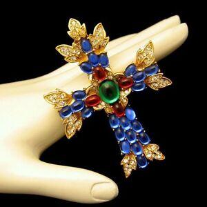 TRIFARI-Vintage-Maltese-Cross-Brooch-Pin-Pendant-Large-Glass-Stones-Rhinestones