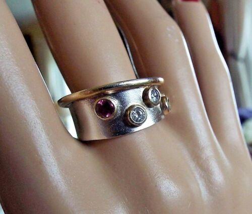 9ct Gold Double Heart Vintage Ring With 6 Diamonds Sz K 14 U.S. Sz 5 38
