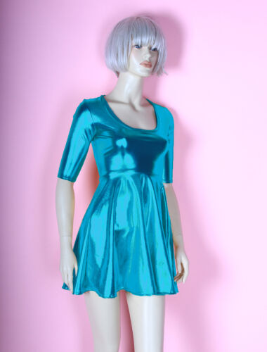 Metallic Turquoise Skater Dress Mini Bodycon Nylon Spandex Foil Baby Doll Blue