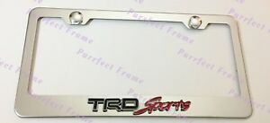 2X Toyota TRD SPORT RED 4x4 Stainless Steel Black License Plate Frame Rust Free