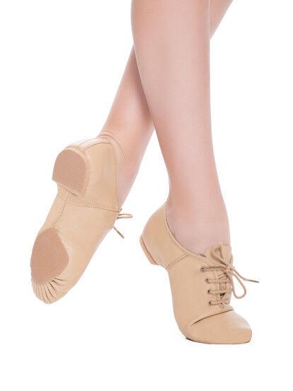 Revolution Dancewear Split Sole Leather Jazz Shoe - Tan - Various Sizes - New