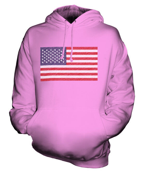 USA SCRIBBLE FLAG UNISEX HOODIE TOP GIFT UNITED STATES AMERICA