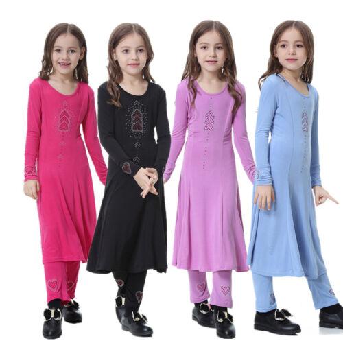 Muslim Girls 2 PCS Prayer Long Tops Abaya/&Pants Arab Islamic Kids EID Dress Sets