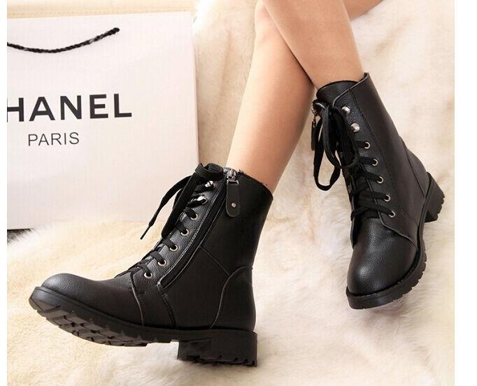 botas invierno cm cómodo botas militares mujer talón 2.5 cm invierno negro código 8723 5db0ee