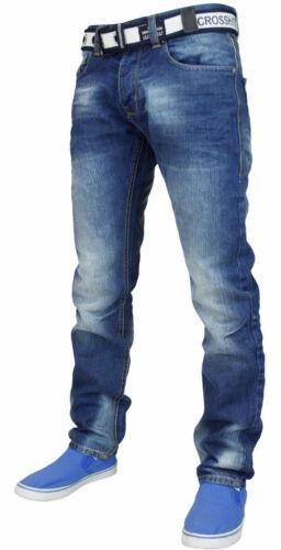 Crosshatch Mens Straight Leg Soft Denim Fabric Cotton Jeans With Free Belt