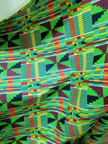 African print Kente fabric KENTE CLOTH Green Ghana fabric by the yard