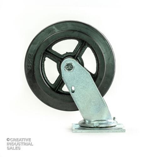 """8/"""" x 2/"""" Swivel Caster w// Rubber Wheel on Steel Hub 600lb Tool Box"""