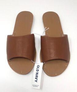 ddd527bb153a Old Navy Women s Faux Leather Brown Slide Sandals Flip Flops Size 7 ...